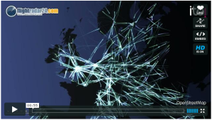 Northern European airspace visualisation via flightradar24